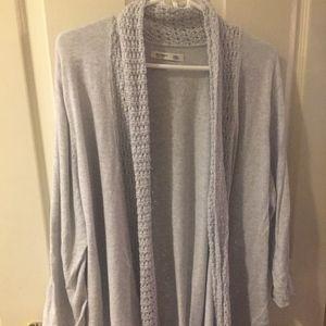 Gray sweater cardigan Old Navy XXL w/ Crochet